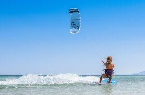 Man kitesurfing